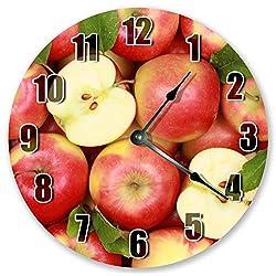 Sugar Vine Art 10.5 Stack of RED Apples Clock - Fruit Clock - Large 10.5 Wall Clock - Home Décor Clock