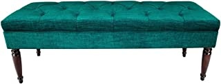 product image for MJL Furniture Designs Claudia Collection Upholstered Diamond Tufted Bedroom Accent Bench, Lucky Series, Turquoise