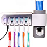 SHEbaking Automatic Toothpaste Dispenser + 5 Toothbrush Holder UV Toothbrush Sanitizer Ultraviolet Disinfector Squeezer Bathroom Set-Super Sticky Suction Pad