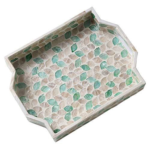 - FREELOVE RUIZHU Display Trays/Decoration Plate, MDF Material Decor with Seashell (Green-Seashell, Tray 12'' by 9'')