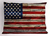 Enkorem 4th of July Pillow Sham, Wooden Planks Painted as United States Flag Patriotic Country Style, Decorative Stanrd Queen Size Printed Pillowcase, 30 X 20 inches, Red Beige Navy Blue
