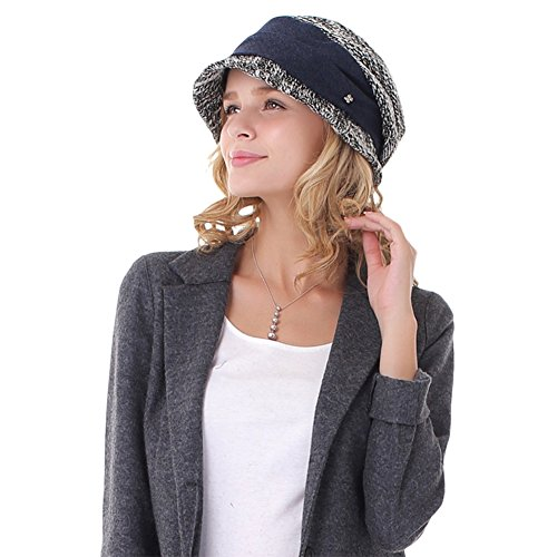 JAMOR Autumn and Winter Outdoor Ladies Hat Casual Shopping Sun Hat Fashionable Warm Hat (Black) by JAMOR (Image #6)