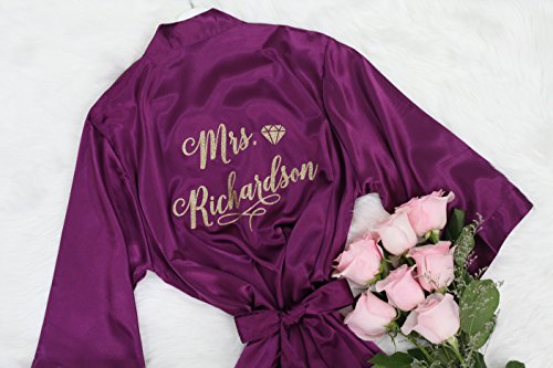 Joy Mabelle Women's Solid Silk Satin Short Kimono Robes Nightwear Bridesmaids Customized Name Lavender Robe For Women by Joy MaBelle Gifts