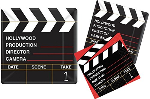 Hollywood Movie Party Supply Pack! Bundle Includes Paper Plates & Napkins for 18 Guests (Slumber Rolling Set)