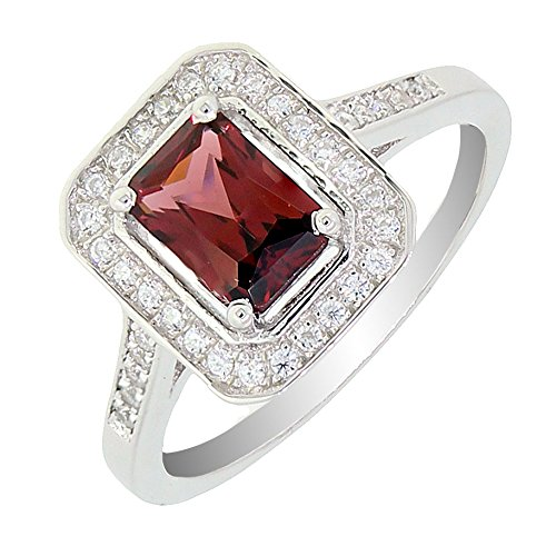 (BL Jewelry Vintage Style Sterling Silver Emerald Cut Natural Mozambique Garnet Ring (1 1/5 CT.T.W) (7))