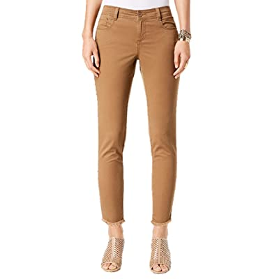 Style & Co Petite Fray Hem Studded Skinny Pants in Tobacco: Clothing