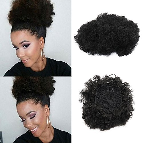 Afro Puff - VGTE Beauty Synthetic Curly Hair Ponytail African American Short Afro Kinky Curly Wrap Synthetic Drawstring Puff Ponytail Hair Extensions Wig with Clips(#1,Medium)