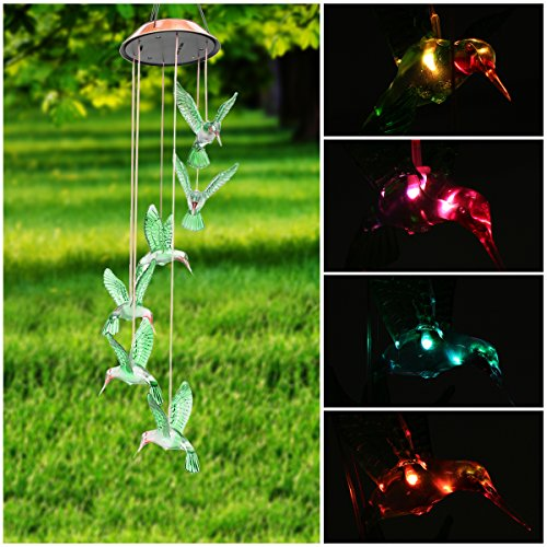 Solar Hummingbird Garden (Color-Changing LED Solar Mobile Wind Chime, Pathonor LED Changing Light Color Waterproof Six Hummingbird Wind Chimes For Home/ Party/ Night Garden)