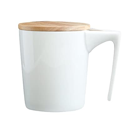 bc584d2e641 Amazon.com   Joint Victory 9.7 oz Coffee Mugs - Pure White Cup Milk Coffee  Tea Ceramic Porcelain Mugs with Spoon and Wooden Cover - Microwave and  Dishwasher ...