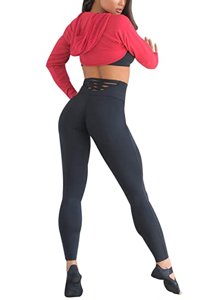 db60abdf6 Amazon.com: MNLYBABY High Waist Yoga Pants for Women Sexy Hollow Out Back Gym  Workout Tights Sports Leggings: Clothing
