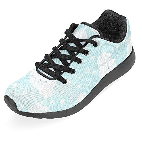 Interestprint Kvinna Jogging Kör Sneaker Lättvikts Gå Gång Casual Komfort Sports Löparskor Moln Med Roliga Tecknade Ansikten Och Regn Multi 1