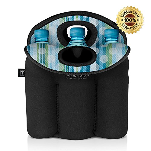 LONDON TAILOR Neoprene Bottle Tote Carrier Cooler - Holds a Six (6) Pack of Beer or Soda Bottles or Cans - Protects Glass from Damage - Insulated Like Coolers - ()