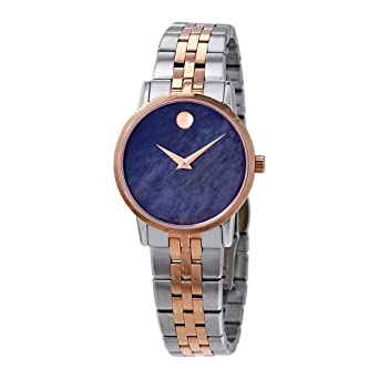 94649b253e6 Image Unavailable. Image not available for. Color  Movado Museum Classic Blue  Mother of Pearl Dial Two-Tone Ladies Watch 0607268