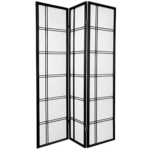 Oriental Furniture 6 ft. Tall Double Cross Shoji Screen - Black - 3 Panels - Three Panel Black Screen