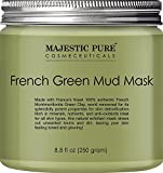 Japanese Facial Tissue - Majestic Pure French Green Mud Mask with Authentic Montmorillonite Green Clay, Exfoliating Facial Mask for Blackhead, Shrinking Pores, Fighting Acne and Toning Skin, 8.8 fl. oz.