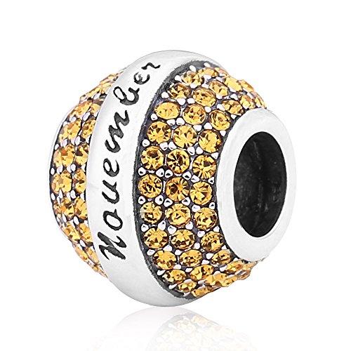 (Love Birthday 12 Colors Jan-Dec Charms 925 Sterling Silver Birthstone Crystal Bead for 3mm Snake Chain Bracelet (Topaz November))
