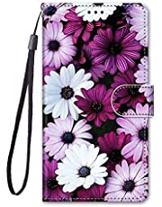 Miagon Full Body Wallet Case for Samsung Galaxy S6,Colorful Pattern Design PU Leather Flip Cover with Magnetic Closure Stand Card Slot,Purple Flower