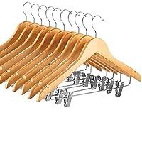 ZOBER High-Grade Wooden Pants Hanger - 10pk Suit Hanger with Metal Clips, for Skirts