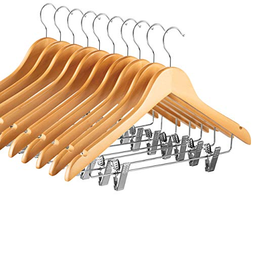 High-Grade Wooden Suit Hangers Skirt Hangers with Clips (10 Pack) Smooth Solid Wood Pants Hangers with Durable Adjustable Metal Clips, 360° Swivel Hook, Shoulder Notches for Dress Coat, Jacket, Blous