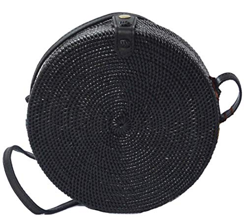 Handwoven Round Rattan Bag Shoulder Leather Straps Natural Chic Hand Gyryp (Leather buttons(black))