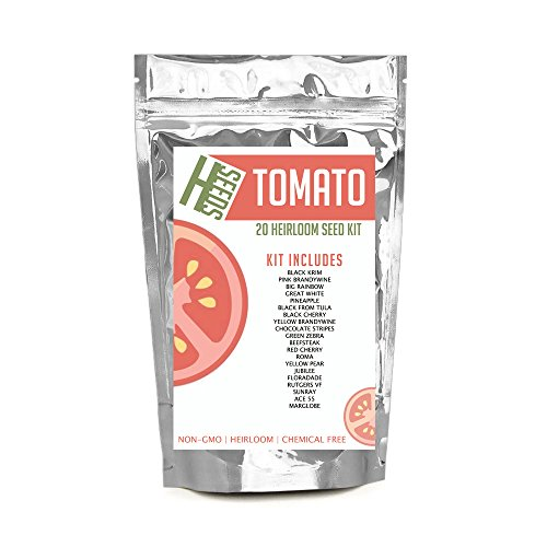 20 Survival Heirloom Tomato Seed Strain Kit with Cool Rare Tomatoes Seeds Krim, Brandywine, Rainbow, Chocolate, Zebra, Jubilee, Floradade and more