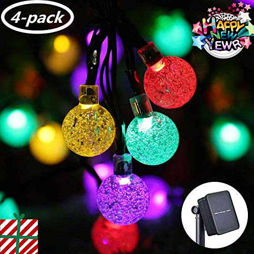 Icicle Solar String Lights Outdoor, 20ft 30 LED Solar Bubble Globe String Lights Fairy Lighting for Indoor/Outdoor, Patio, Lawn, Garden, Wedding, Party, Christmas Decorations(4 Pack Multi-Color)