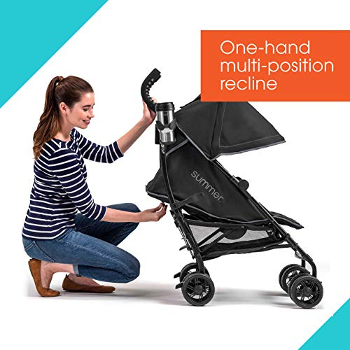 51Lhfjo81DL - Summer 3Dlite+ Convenience Stroller, Matte Black – Lightweight Umbrella Stroller With Oversized Canopy, Extra-Large Storage And Compact Fold