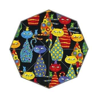 Funky Cat Black Colorful Personalized Custom Foldable Rain Umbrella Resistant Windproof Sun Travel Anti-UV Umbrella
