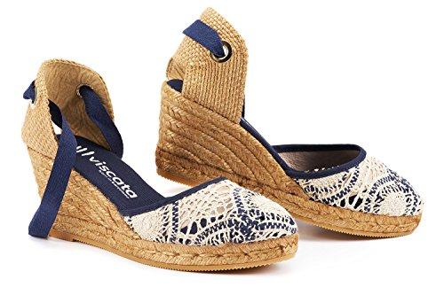 Sagaro Prodotte Alla Viscata Chiusa Caviglia Cm Navy Crochet In Lacci Zeppa 6 Espadrillas Con Punta White Spagna Artigianalmente Classiche 3 Rdwzgdq