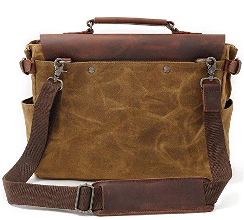 Bolsos de hombres Xinmaoyuan Cera Aceite de lona con maletín de cuero de caballo loco Bolso Bolsa de hombro masculino Retro Messenger,gris Caqui