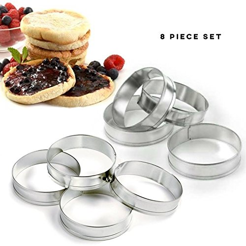 English Muffin Rings - Happy Sales HSMR8, English Muffin Rings, Set of 8