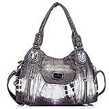 Handbag Hobo Women Handbag Roomy Multiple Pockets Street ladies' Shoulder Bag Fashion PU Tote Satchel Bag for Women (AK812-2Z Khaki)