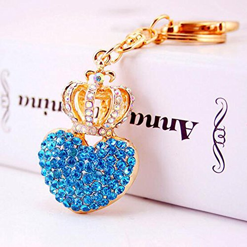 Jzcky Shzrp Love Heart and Crown Crystal Rhinestone Keych...