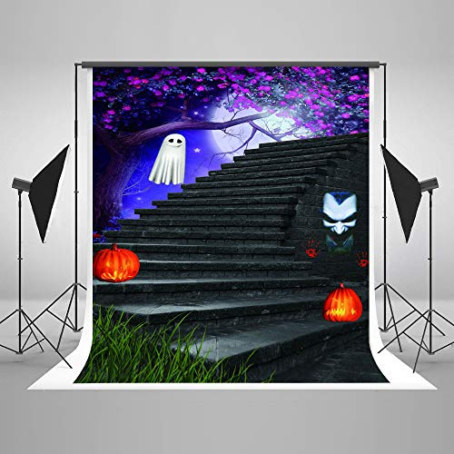 Halloween Backgrounds for Photography 5x7ft Purple Flowers Tree Grey Brick Stairs Photo Backdrop for Halloween Wedding Shoot -