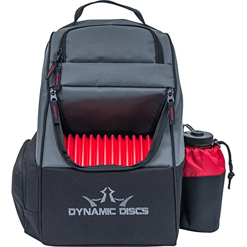 Trooper Base - Dynamic Discs Trooper Disc Golf Bag - Fits Up to 18+ Discs and Four Putters - Introductory Disc Golf Backpack - Lightweight and Durable (Black/Red)