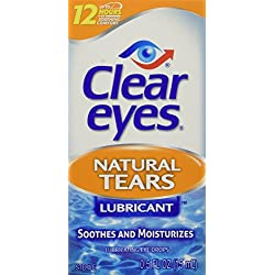 Clear Eyes Natural Tears Lubricant - #1 Selling Brand of Eye Drops - Mild, Natural Eyedrops Soothe and Moisturize Dry Eyes - 0.5 Fl Oz (Pack of 3)