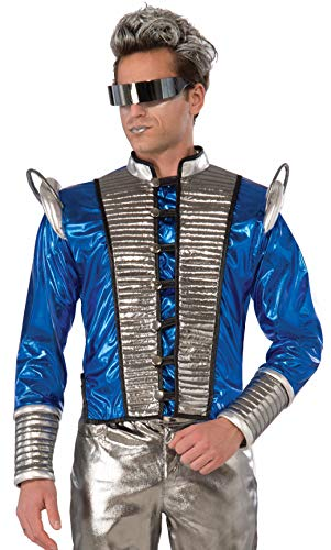 Forum Men's Futuristic Fantasy Jacket Adult Costume, -Silver/Blue, One -
