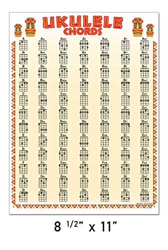 Laminated Ukulele 84 Chord Wall Chart 8.5 x 11 Poster Chords Soprano Concert Tenor Beginner for Notebook