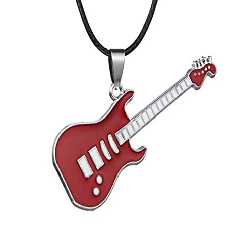 JMZDAW Collar colgante Acero Inoxidable Guitarra Rock Punk Collar ...