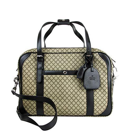 Gucci Men's Briefcase Beige/Ebony Diamante Black Leather Trim 267890 9769