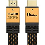 Million High Speed Ultra HDMI Cable 6 Feet (1.8m) with Ethernet - HDMI 2.0 Professional Support 4K 3D 2160P 1440P - Audio Return Channel (ARC),Gold Case