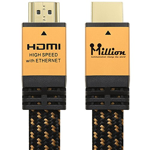 1m Hdmi Cable (Million High Speed Ultra HDMI Cable 3 Feet (1.0m) with Ethernet - HDMI 2.0 Professional Support 4K 3D 2160P 1440P - Audio Return Channel (ARC),Gold Case)