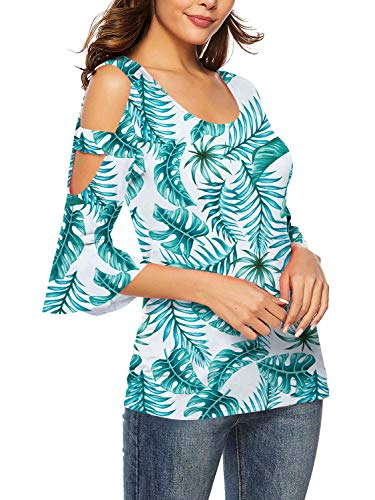 (Women's Floral Print Short T Shirt Summer Sexy U Neck Tops Floral-Green M)