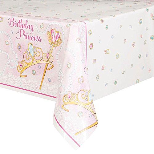 Jeweled Pink Princess Plastic Tablecloth, 84