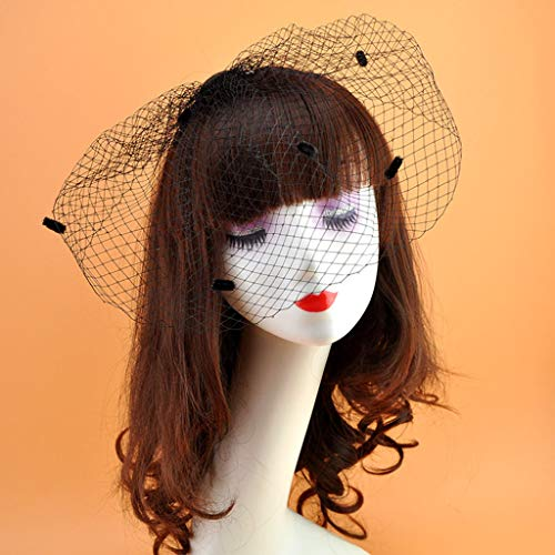 Womens Vinrage Elegant Wedding Fascinator Fishnet Mesh Veil Large Hole Small Plush Wave Point Solid Color Hair Clip Corsage Brooch Black/White