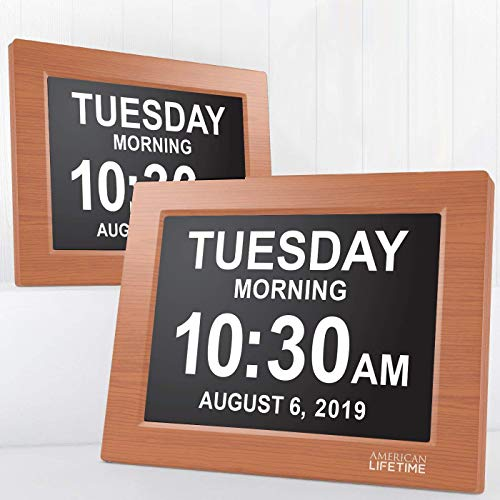 - American Lifetime [Newest Version] Day Clock - Extra Large Impaired Vision Digital Clock with Battery Backup & 5 Alarm Options (Brown Wood Color - 2 Pack)
