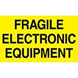 Generic DL2441 ''Fragile Electronic Equipment'' Labels, 3'' x 5'', Fluorescent Yellow