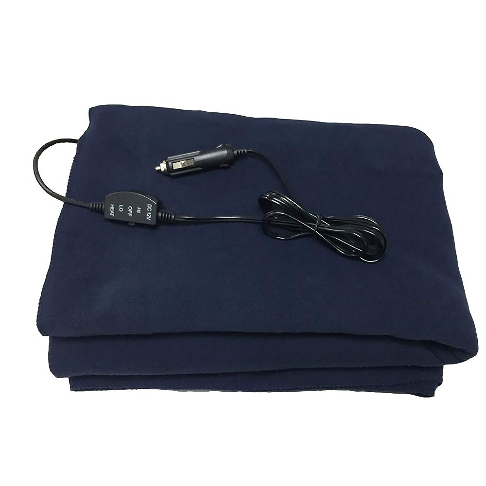 Heated Travel Blanket/Electric Car Blanket, 12V Car Universal, Warm in Autumn and Winter,Red Plaid,Blue150*110CM JXHD