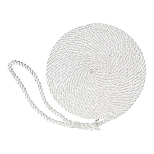 (SGT KNOTS Twisted Nylon Dockline (2-Pack, 1/2 in x 20 ft, White) - 3-Strand Twist Nylon Rope Docklines - Marine Ropes for Boat/Boats - Dock)