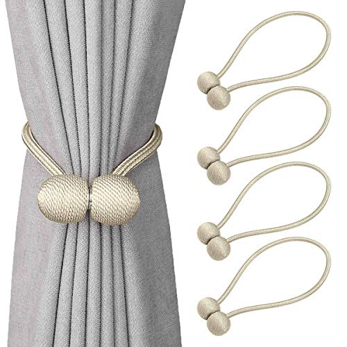 Ruby Herty Window Curtain Tiebacks Clips,Strong Magnetic Tie Band Home Office Decorative Drapes Weave Holdbacks Holders European Style 2 Pairs (Beige, 4 Pack) (Decorative Holdback)